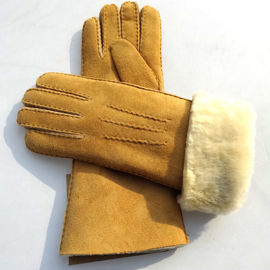 Latest technology sheepskin yellow leather gloves